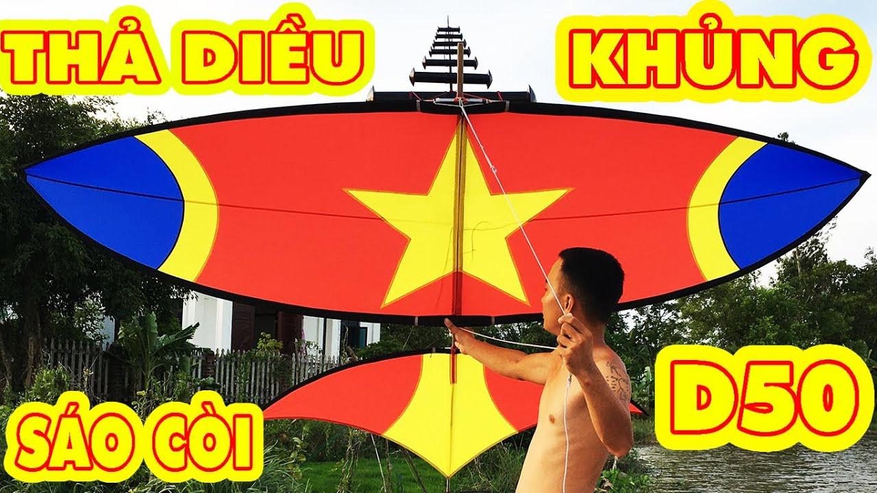 Thả diều cờ đỏ sao vàng cực đẹp cùng bộ còi nải vải D50 | fly a kite | Phuong PV