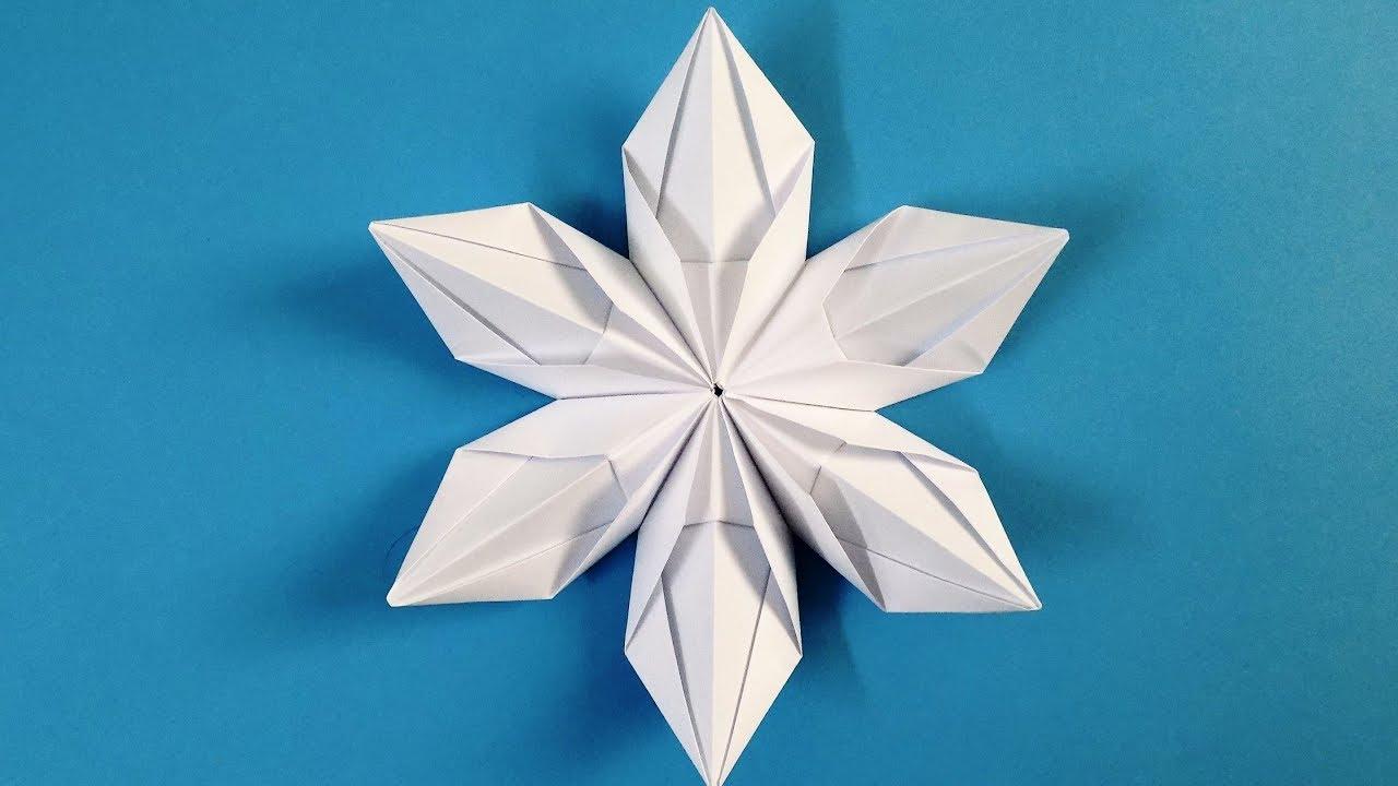 Origami Snowflake How To Make Beautiful 3d Snowflakes Origami Youtube