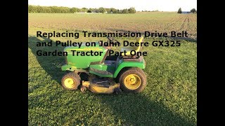 Changing Transmission Drive Belt and Pulley on John Deere GX 325 Garden Tractor Part One