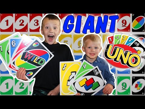 Giant UNO Cards!  ||  Family Game Night  ||  Worlds Largest UNO with Family Fun Pack