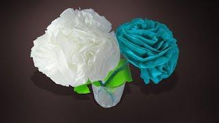 DIY : Tissue Flowers making   How To Make Rose Tissue Paper Flower Tutorial