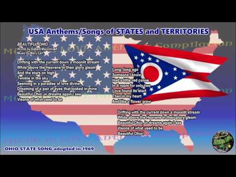 Ohio State Song BEAUTIFUL OHIO with music, vocal and lyrics
