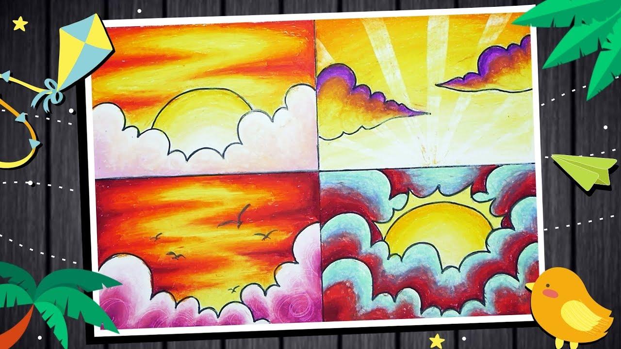 4 Tips Variasi Mewarnai Langit Sore Yang Indah Dengan Crayon Oil Pastel