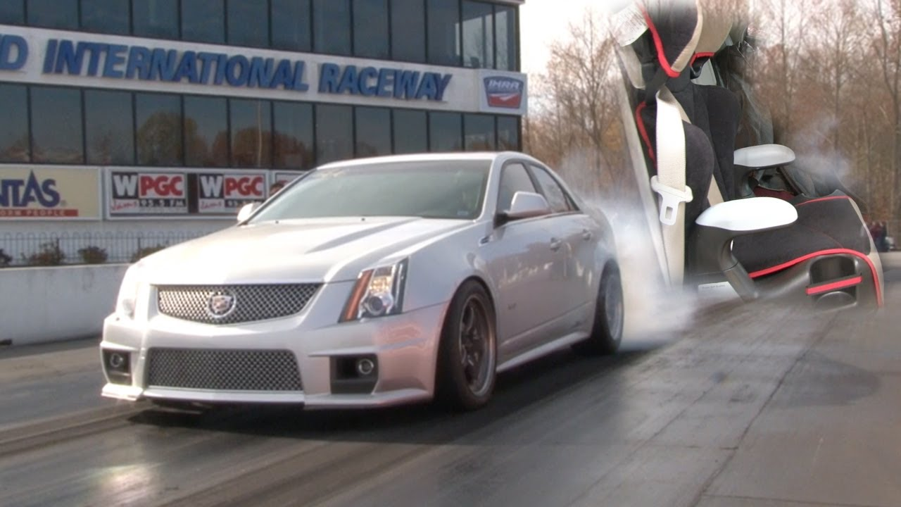 Cadillac CTS Runs 9.63 with a Baby Cat - YouTube