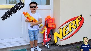 Zombie Nerf park war | DJ pretends to fight zombies with a Nerf gun