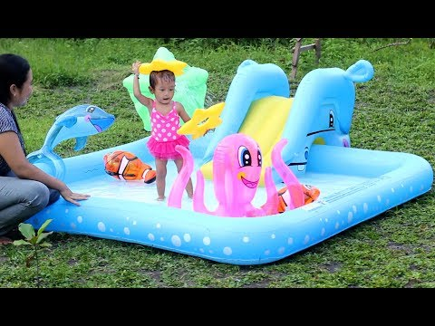 Unboxing Kolam Renang Perosotan anak bayi mandi lucu - unboxing baby swimming pool kids water slide