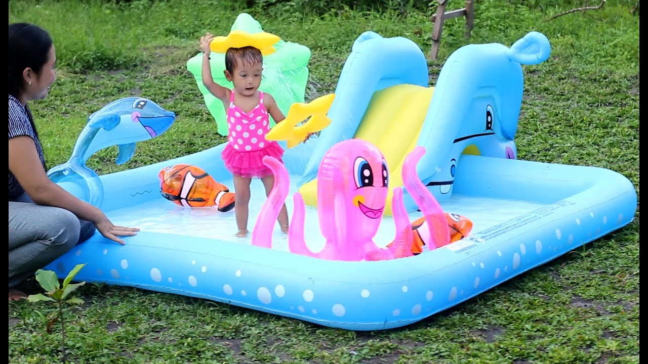 Unboxing Kolam Renang Perosotan Anak Bayi Lucu Unboxing Baby Swimming Pool Kids Water Slide