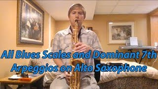 all minor blues scales and dominant 7th arpeggios on alto saxophone