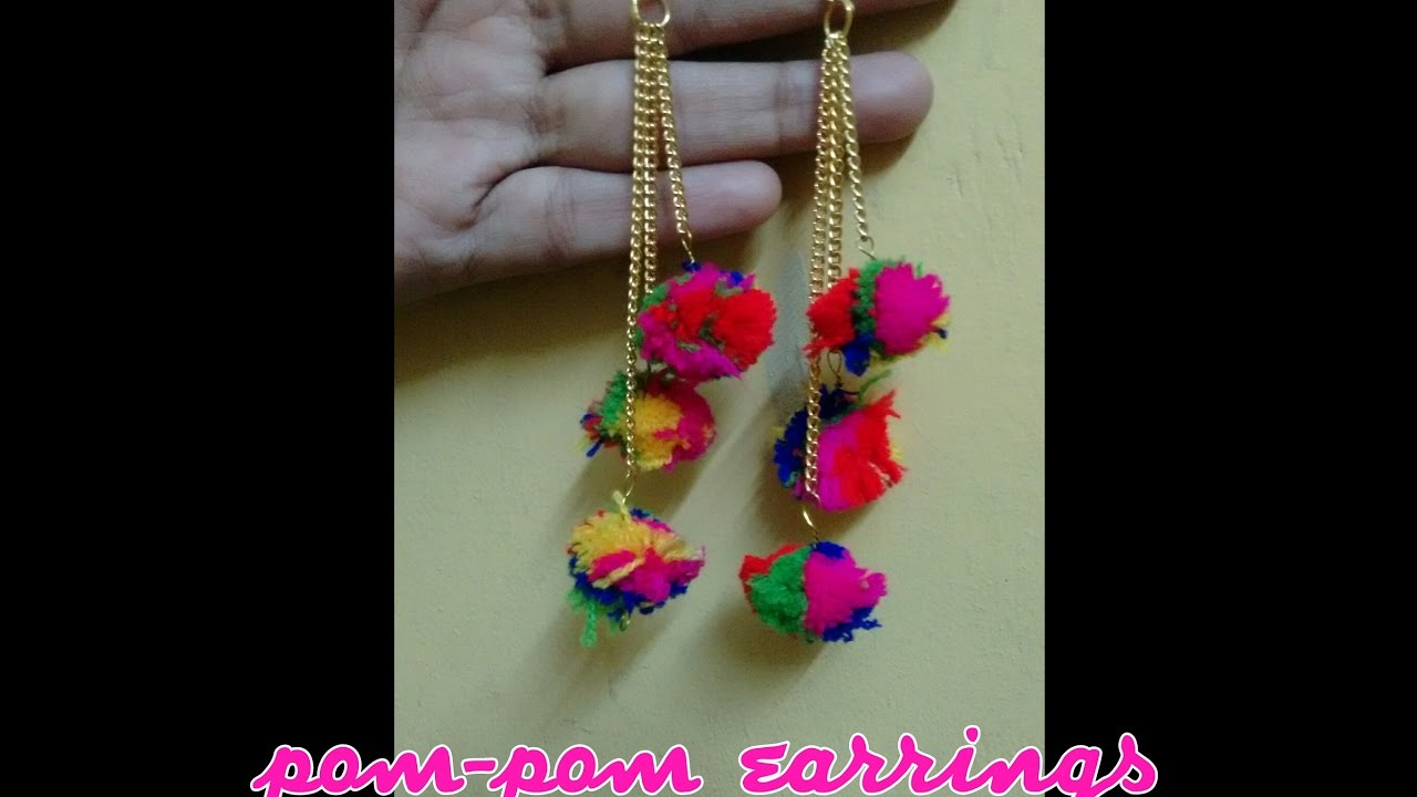 how to make pom pom earrings at home