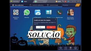 Como Corrigir erro no BlueStacks 3,carrega 80% e pede para reinicar o pc