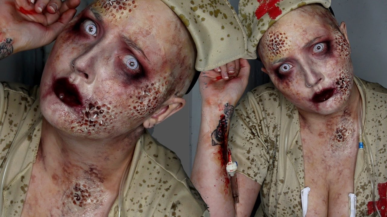 Trypophobia Zombie Nurse Halloween Costume Makeup Tutorial - YouTube