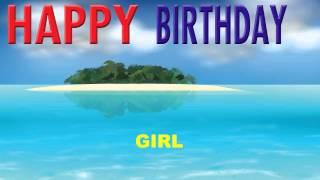Girl - Card Tarjeta - Happy Birthday