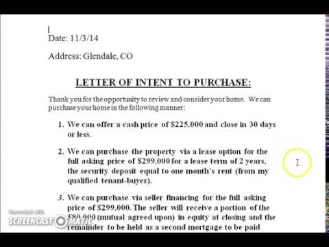 Buying Houses Subject To How to complete a letter of intent to - letters of intent