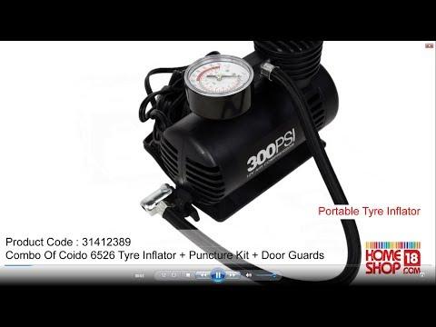 Homeshop18.com - Combo of Coido 6526 Tyre Inflator + Puncture Kit + Door Guards