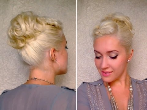 Curly updo hairstyle for short hair Twisted bangs ponytail Cute medium