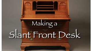 Slant Front Desk Building Process Video. This Slant Front Desk is Handmade of Solid Cherry with Shell Carved interior Drawers and