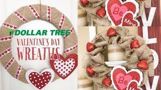 DOLLAR TREE DIY | VALENTINE DECOR | SIMPLE BURLAP VALENTINE WREATHS