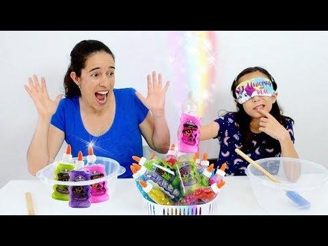 DESAFIO DO SLIME COM 3 CORES DE COLA GLITTER!!! ★ Brincando com a Mamãe (3 Colors of Glue Challenge)