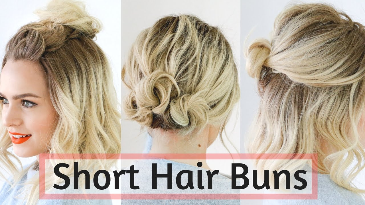 Quick Bun Hairstyles for Short / Medium Hair , Hair Tutorial!