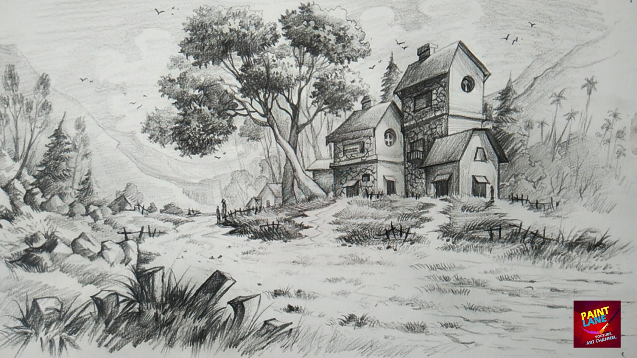 How To Draw and Shade A Simple Landscape For Beginners ...