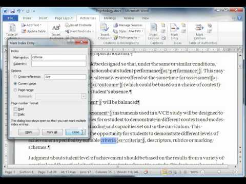 How to create an Index in MS Word