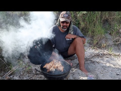 CATCH N COOK N EAT- Smoking Fish & Roes In Small Weber Grill At Beach
