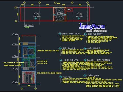 BẢN VẼ THIẾT KẾ ⋆ Hồ sơ mẫu nhà phố 3 tầng 4x20m ⋆ Designing Architecture
