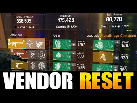THE DIVISION - AMAZING VENDOR RESET | GOD ROLL WEAPONS, GEAR & GEAR MODS! (YOU NEED TO BUY)