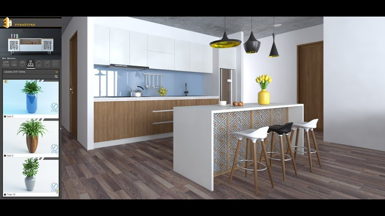 Sketchup Kitchen Build Vray 3 4 Render Youtube