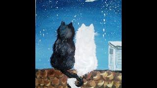 Влюбленные коты на крыше. Правополушарное рисование