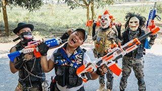 LTT Films : Hunter Squad Silver Flash Nerf Guns Fight Crime Group BIGMAN Mask Battle Until Die