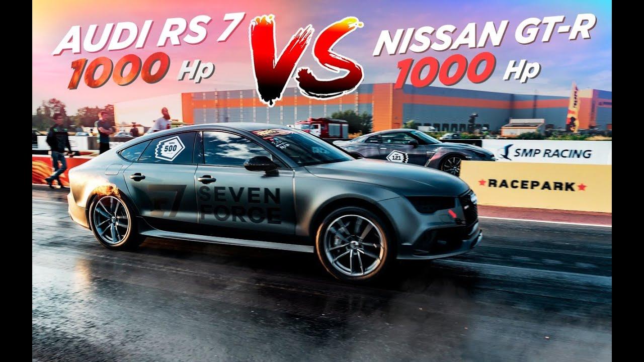 1000hp Audi RS7 vs 1000hp Nissan GT-R! 1/4 мили за 9,3 сек на Audi TTRS Colibri!