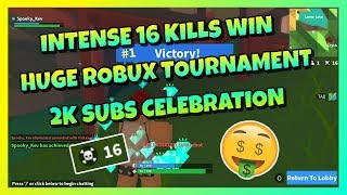 INTENSE 16 KILLS WIN 😱 | HUGE ROBUX TOURNAMENT AT 2K SUBS 💰 | ROBLOX ISLAND ROYALE 🏝️