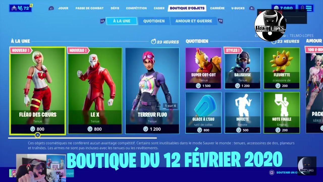 """Download FORTNITE : NOUVEAUX SKIN """"FLÉAU DES CŒURS"""" et """"LE X"""" Boutique du 12 février, item shop february 12"""