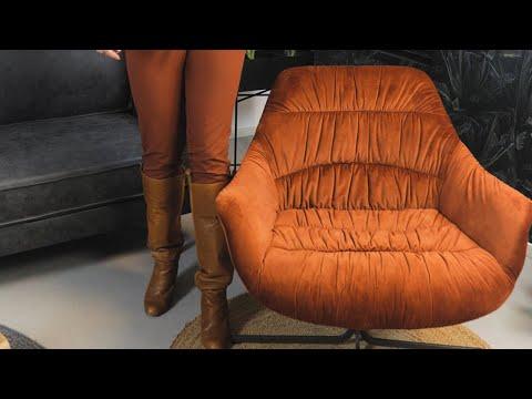 Samt Sessel Lizzy drehbar mit Armlehne kupfer