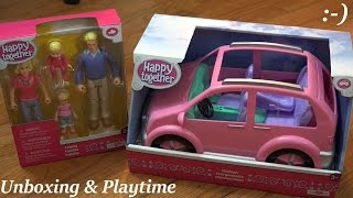 Toy Dolls for Little Girls: Happy Together Family and Minivan Unboxing & Playtime
