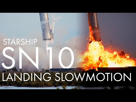 SpaceX Starship SN10 landing and explosion slowmotion