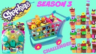 Shopkins Season 3 Stacking & Play Doh Challenge Show! Shoppin' Cart! 5 Pack Opening!