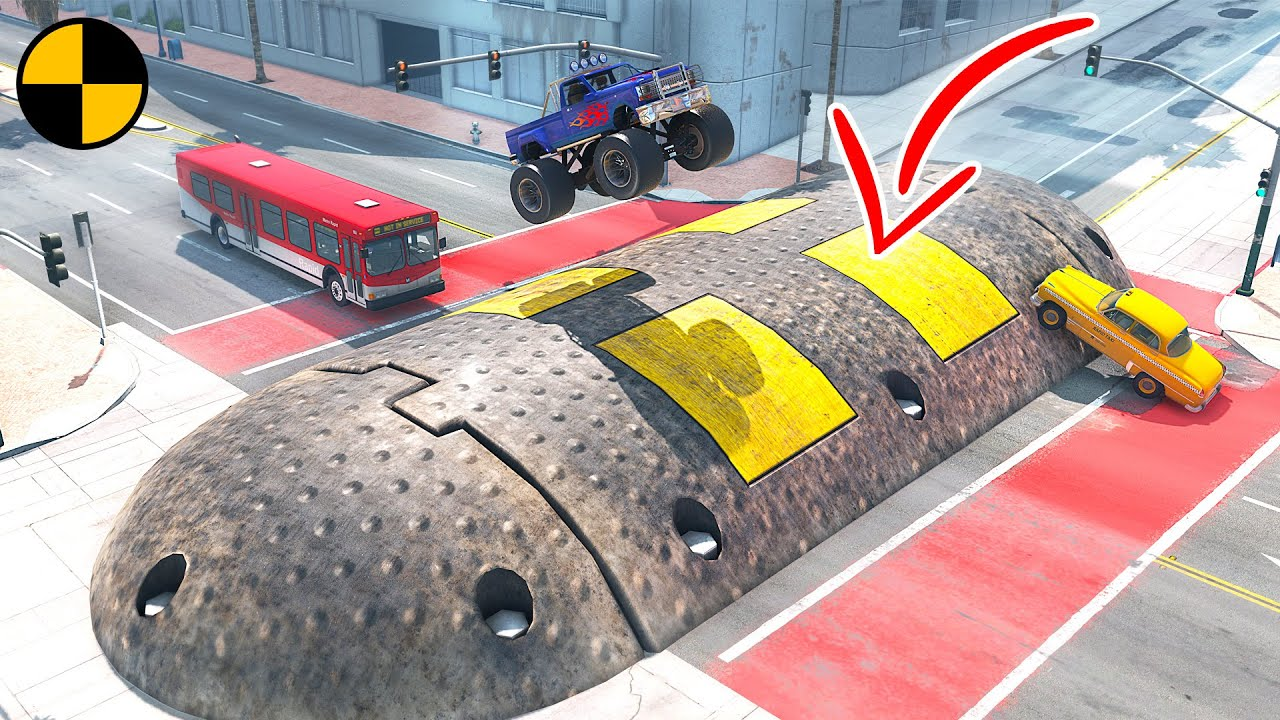 Cars vs Huge Speed Bump #2 😱 BeamNG Drive mods
