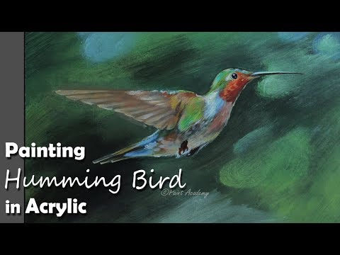 Painting Humming Bird in Acrylic | step by step