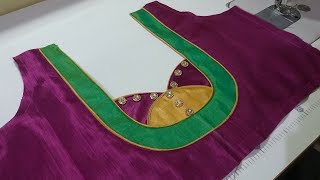 easy blouse back neck design cutting and stitching at home