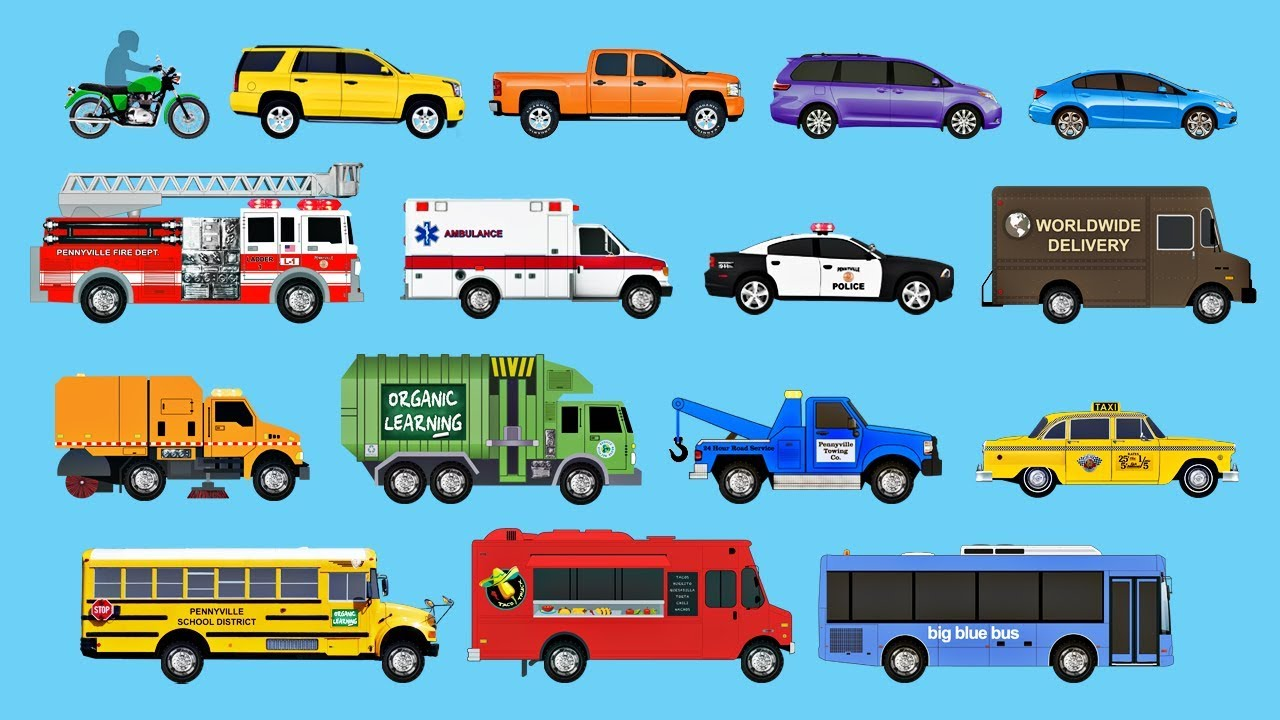 Learning Street Vehicles for Children  Learn Cars Trucks Fire