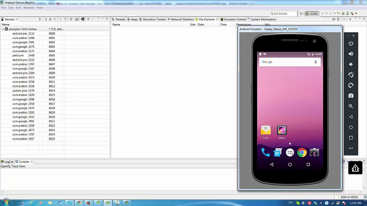 how to open android monitor in android studio