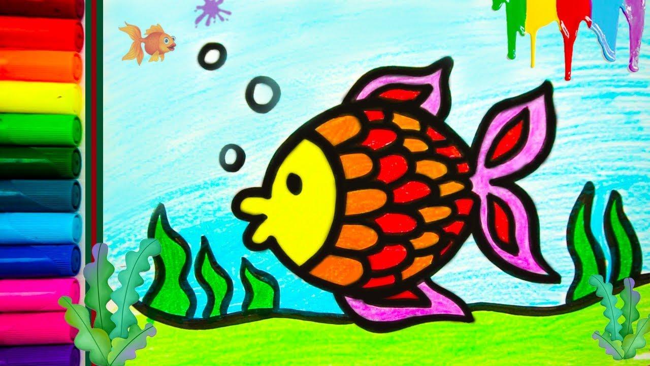 Hoe Teken Je Een Vis In Stappen Voor Kinderen Kleurplaten Voor Kinderen Tekenen En Kleuren Leren Youtube