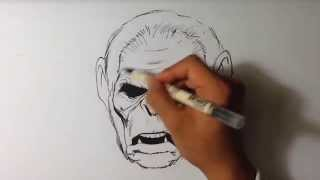 How to Draw Koba from Planet of the Apes - Inking - Easy Things to Draw