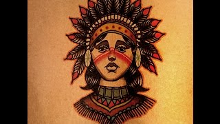 How to Draw an Old School Native American Girl front view