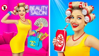 Strange Ways to Sneak Snacks and Sweets into a BEAUTY SALON! Insane Food Hacks and Tricks by RATATA