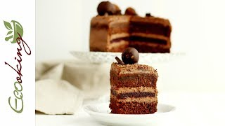 Идеальный постный шоколадный торт с вишневым конфи и шоколадными трюфелями / vegan / gluten free