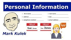 Personal Information - Mark Kulek - ESL | English for Communication