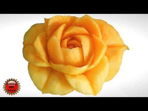 Lesson 16, Carving, การแกะสลักผลไม้, 水果雕刻, Ukiran buah, 果物のカービング, Khắc trái cây, naik ukiran, 조각 장미
